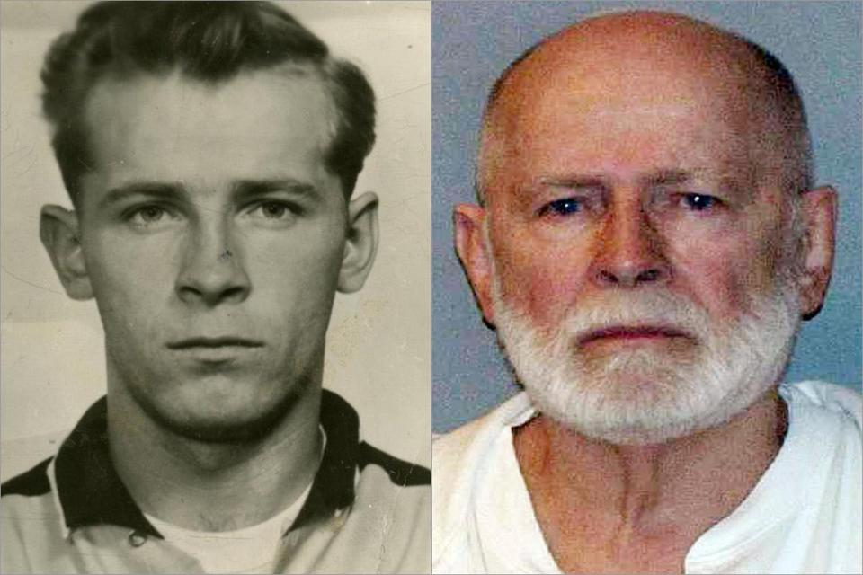 A 1955 Miami Beach Police mug shot of Bulger (left), and his booking photo in 2011.