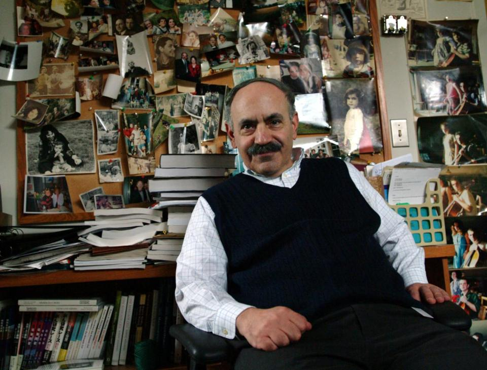 MIT cancer researcher Robert Weinberg in his office at the Whitehead Institute.