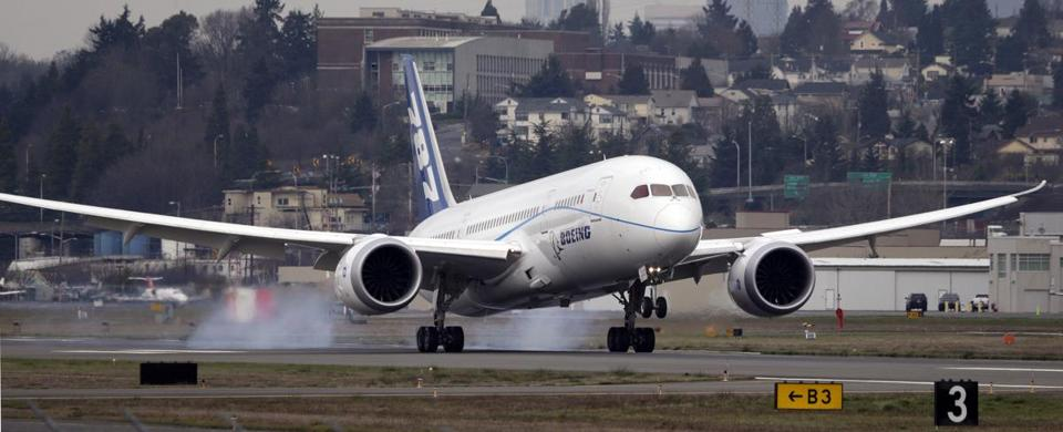 One of Boeing's fleet of six 787 test planes landed after a test flight Monday at Boeing Field in Seattle. Company officials got federal approval for test flights under special conditions, including that the planes fly over unpopulated areas.