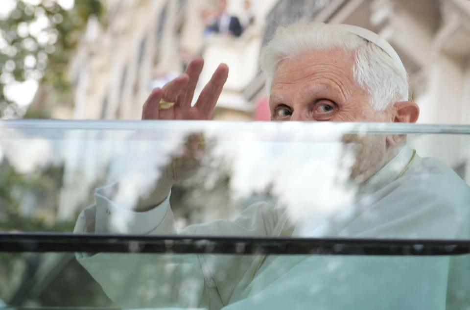 Pope Benedict XVI waved from the popemobile in Paris in 2008 during his first visit to France.