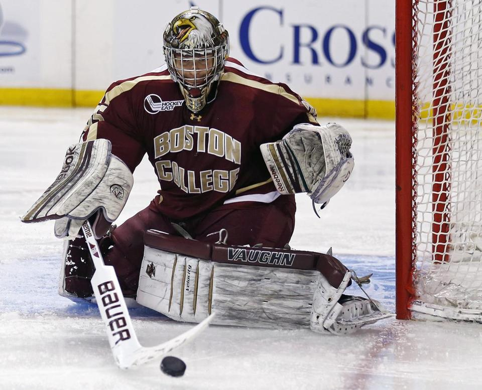 Goalie Parker Milner and his fellow BC seniors are looking to go undefeated in their Beanpot careers.