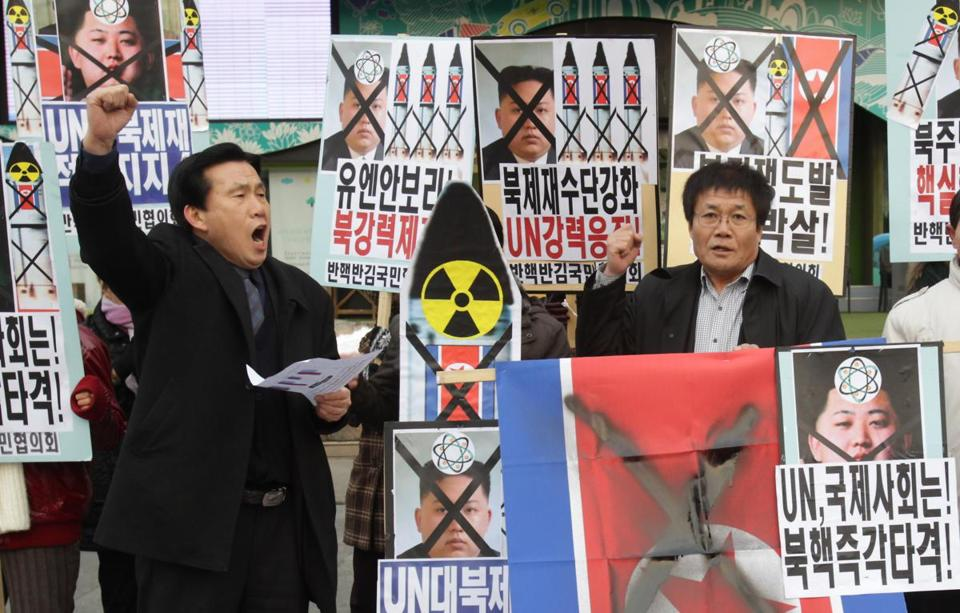 South Korean conservative protesters participated in the anti-North Korea rally demonstrating against North Korea's nuclear test on Tuesday.
