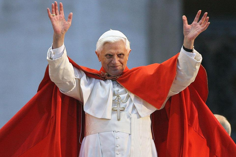 Pope Benedict XVI saluted young Catholics in St. Peter's Square on World Youth Day in 2006.