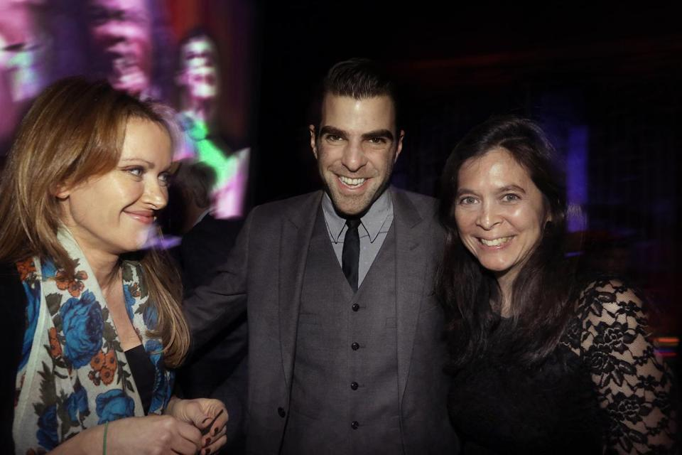 Gala hosts Dina Selkoe (left) and Zachary Quinto with ART artistic director Diane Paulus at the Revere Hotel.
