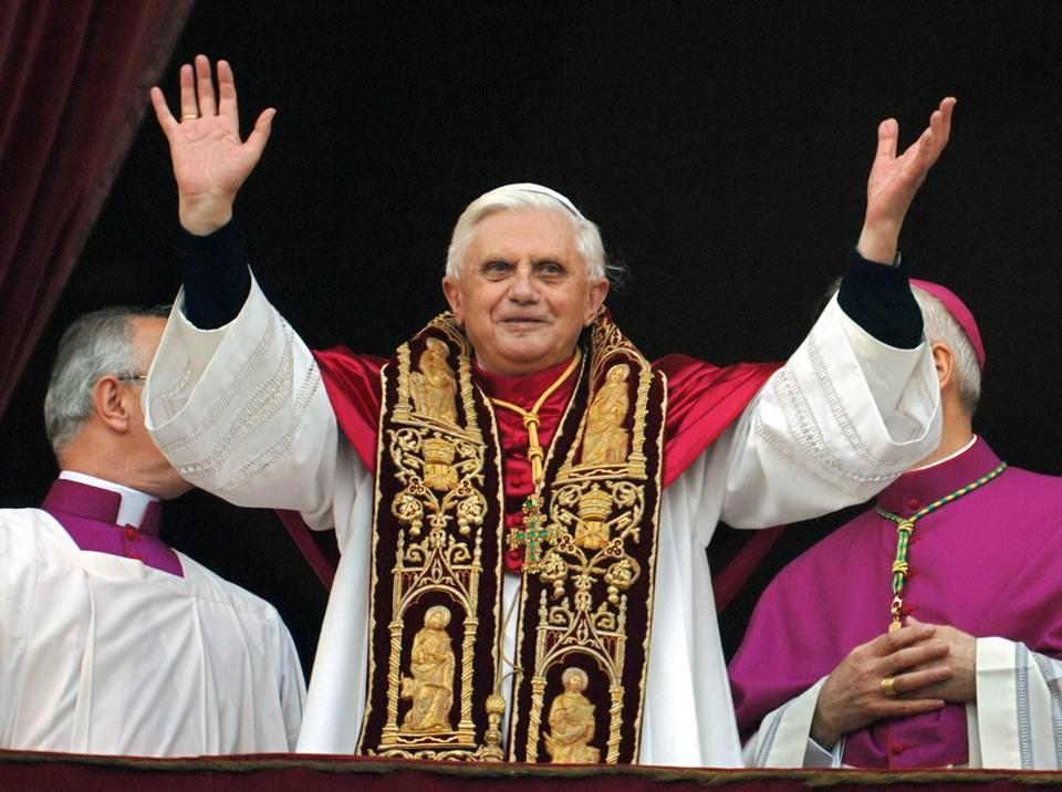 Pope Benedict XVI greeted the crowd from the central balcony of St. Peter's Basilica moments after being elected in 2005.
