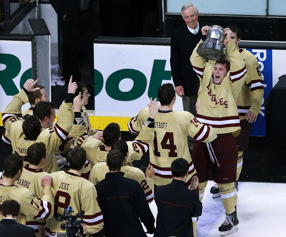 BC captain Pat Mullane raised the Beanpot first for the Eagles.