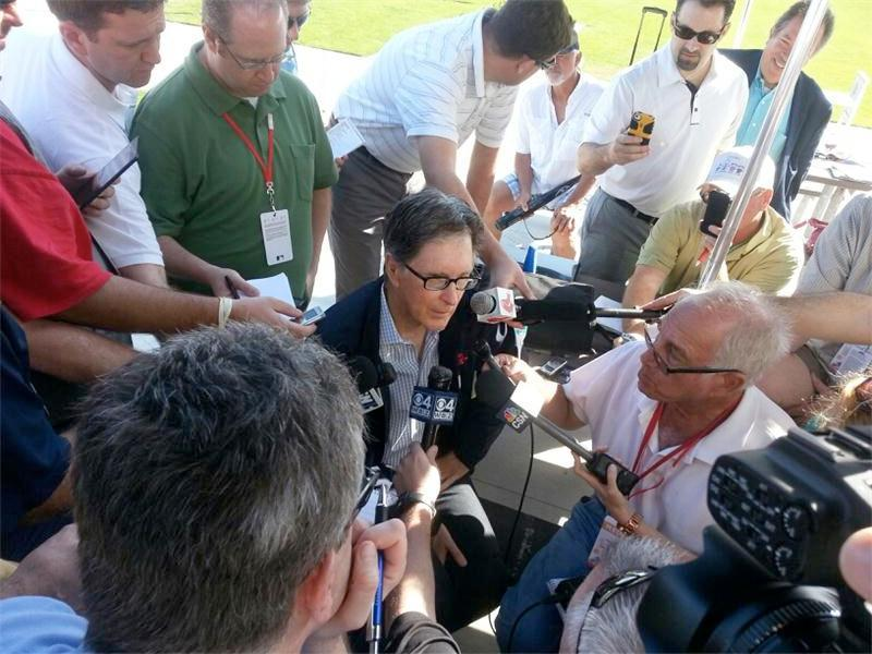 John Henry faced a gaggle of reporters' questions on Monday.