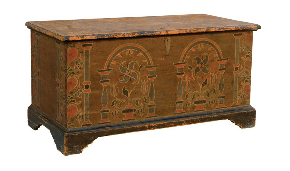 "From top left: This 18th-century Pennsylvania German blanket chest with its original freehand sponged design was the top seller at Willis Henry's Americana and Estates Auction, bringing $30,420 against a $3,000-$6,000 estimate; the 18th-century child's stand-up chair stenciled ""Revere"" on the bottom sold for $2,223 against a $300-$500 estimate; from the John P. Richardson Collection, an early-19th-century storage box stamped with ""WOL"" (for William Otis Lincoln) on the top went for $3,042; and purportedly having belonged to Napoleon Bonaparte, this French porcelain tea service of 14 gilded pieces with hand-painted portraits of women brought $11,400 at Skinner's European Furniture & Decorative Arts Auction, where the 19th-century parcel-gilt and painted mahogany veneer demilune cabinet (below) fetched $4,613."