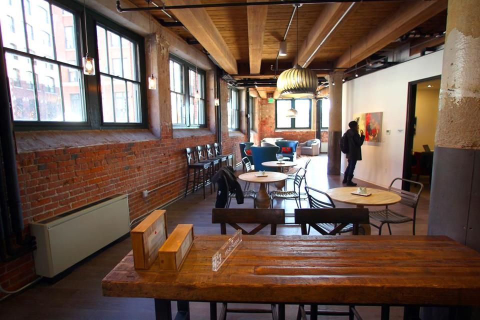 Boston-02/13/13- The factory 63 micro-housing apartments on Melcher Street in Fort Point, South Boston. This is the 1st floor common area open to the public and residents with free wifi. Globe staff photo by John Tlumacki (business)