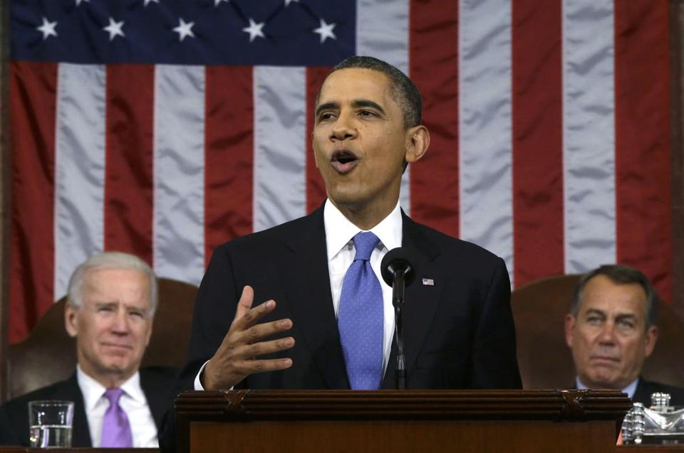 President Obama, flanked by Vice President Joe Biden and House Speaker John Boehner, delivered his State of the Union speech.