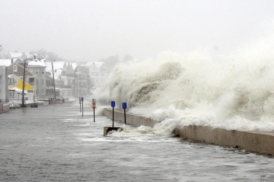 A strong February storm flooded Winthrop Shore Drive in Winthrop.