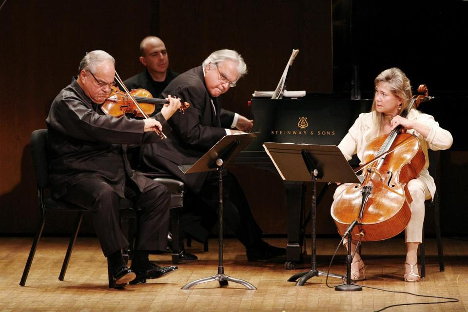From left: Jaime Laredo, Joseph Kalichstein, and Sharon Rob­inson (pictured in New York in 2011) performed at Jordan Hall on Sunday.