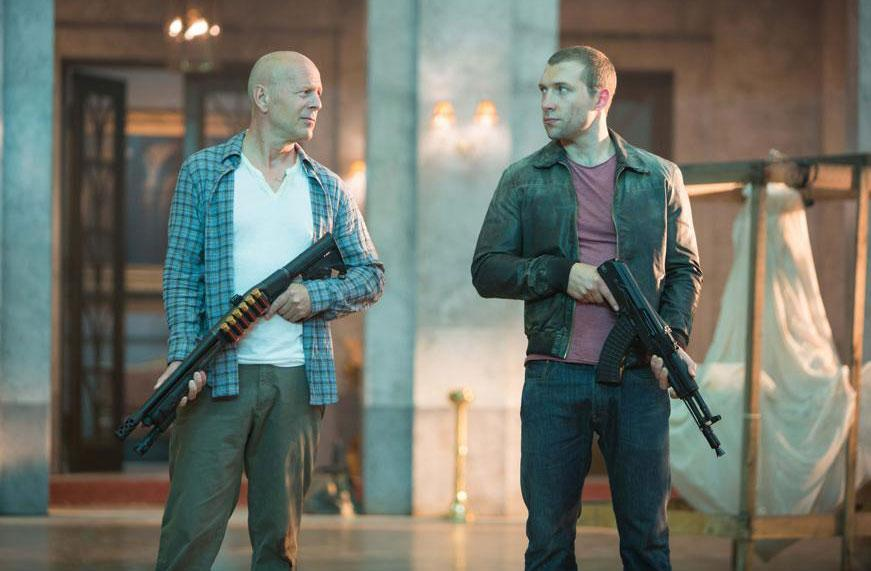 "Bruce Willis and Jai Courtney play father and son in ""A Good Day to Die Hard."""