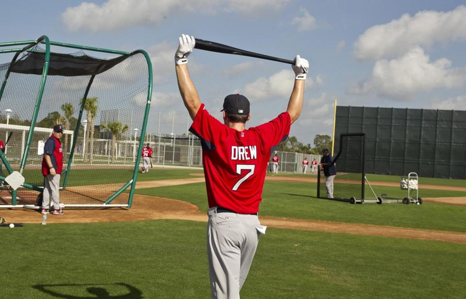 Boston Red Sox infielder Stephen Drew walked to the batting cage the second day of spring training at JetBlue Parkin Fort Myers, Fla.