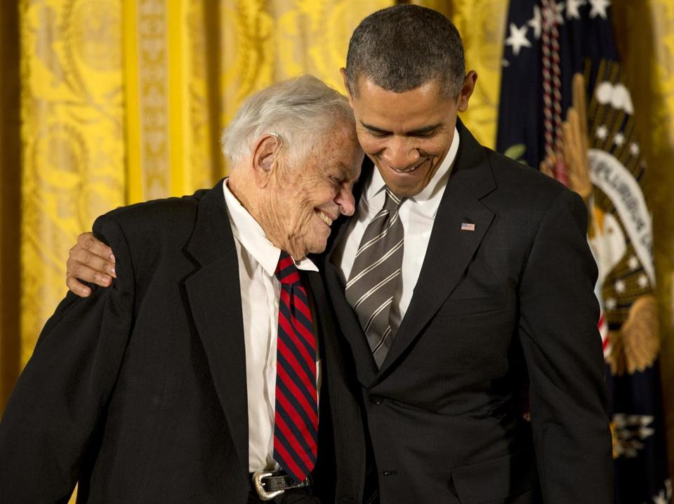 President Obama enjoyed a moment with T. Berry Brazelton at the White House, where the Boston doctor received the Presidential Citizens Medal on Friday for his groundbreaking work in pediatrics.