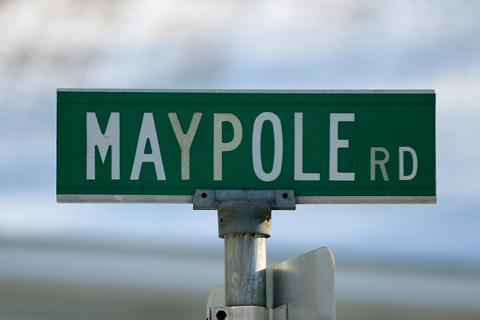 Maypole Road sign in Quincy