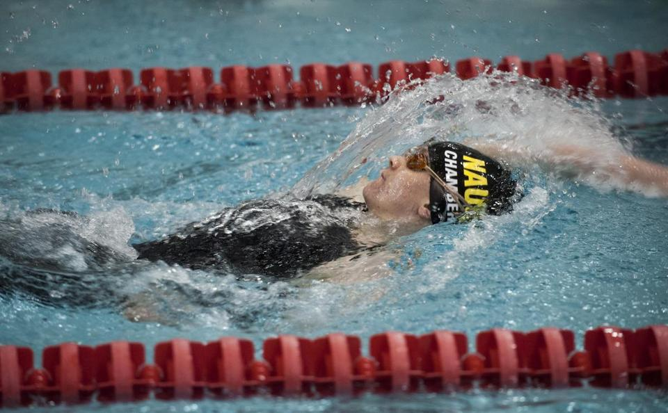 Nauset's Marie Chamberlain wins the 100 back at the Division 2 state championship, the second straight year she's won that event. Chamberlain also won the 100 butterfly.