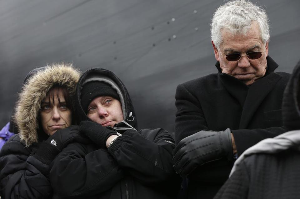 Two survivors of the Station nightclub fire, Deb Wagner (left) and Linda Fisher, and former governor Donald Carcieri of Rhode Island visited the site where 100 people died.
