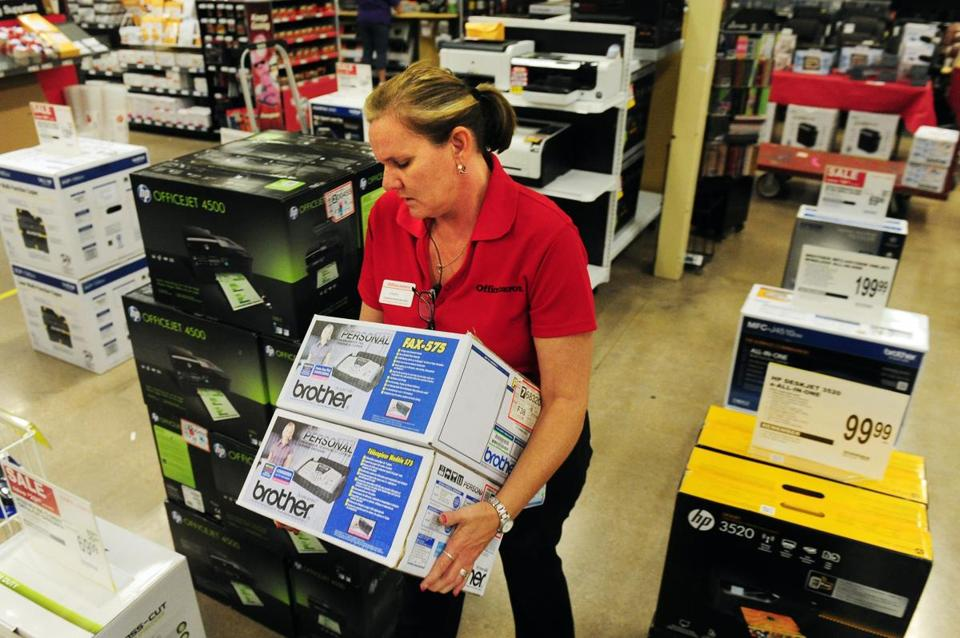 If OfficeMax and Office Depot were to merge, it would create a bigger rival to Framingham-based Staples.