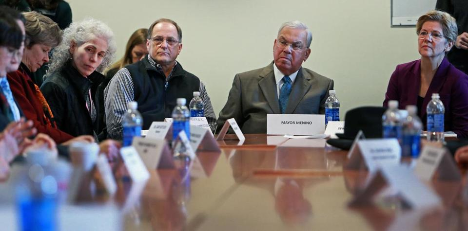 US Representative Michael E. Capuano, Mayor Thomas M. Menino, and Senator Elizabeth Warren met with health care leaders Monday to discuss impending cuts.