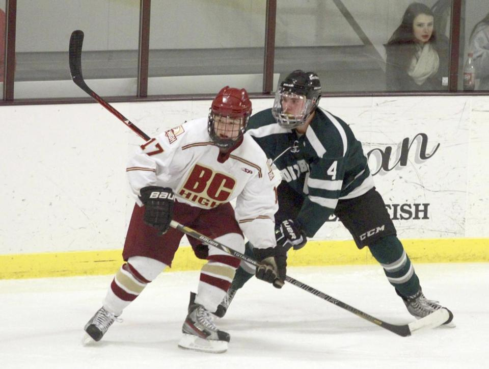 Duxbury forward Bobby O'Brien jockeys for position with BC High's Chris Pekrul.