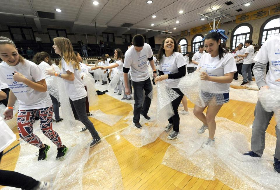Hawthorne, N.J., students celebrated Bubble Wrap Appreciation Day last month.