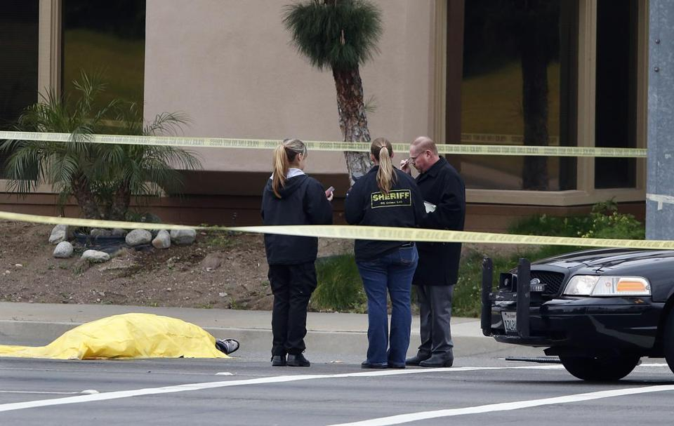 Standing next to a body, investigators in Orange, Calif., pieced together one of multiple crime scenes after a shooting spree.