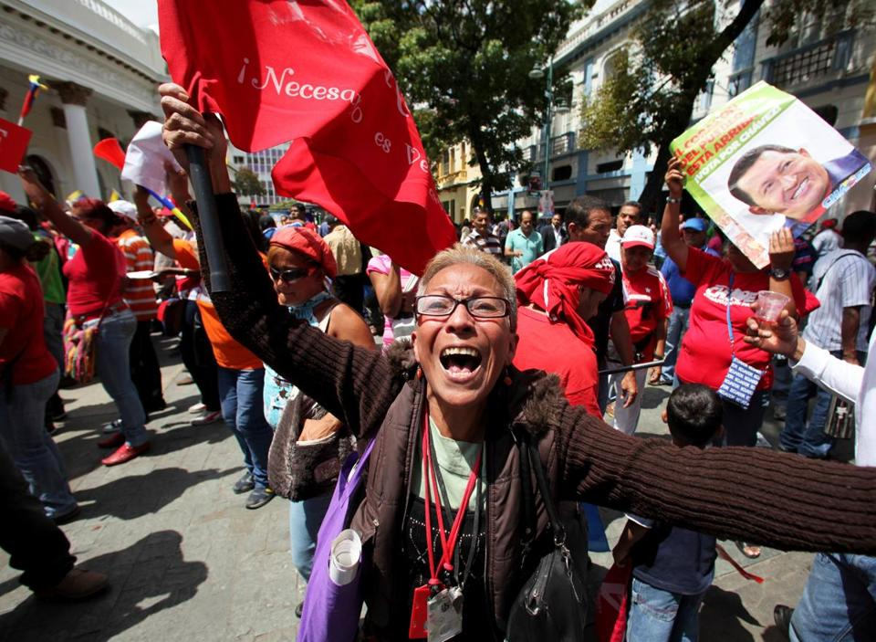 Supporters of President Hugo Chavez cheered in Bolivar Square in Caracas.