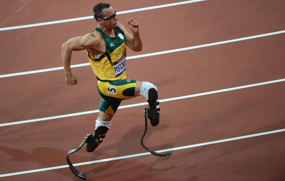 South African Olympian Oscar Pistorius in London Aug. 15, 2012. Pistorius arrested early Feb. 14, 2013 for allegedly shooting and killing his girlfriend.