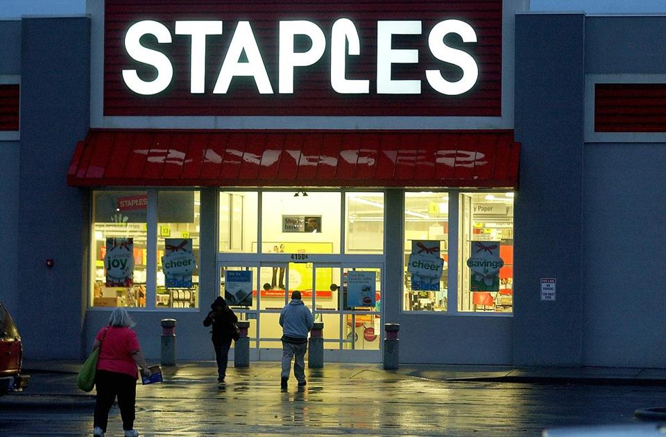 Staples could gain new customers, analysts say, if the merger of its rivals goes as planned. New customers may come in areas where OfficeMax and Office Depot close stores.