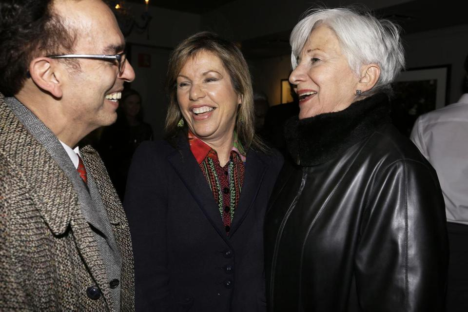 From left: Tony Simotes, artistic director of Shakespeare and Company; Mass. Cultural Council Commission executive director Anita Walker; and actress Olympia Dukakis at No. 9 Park Tuesday.