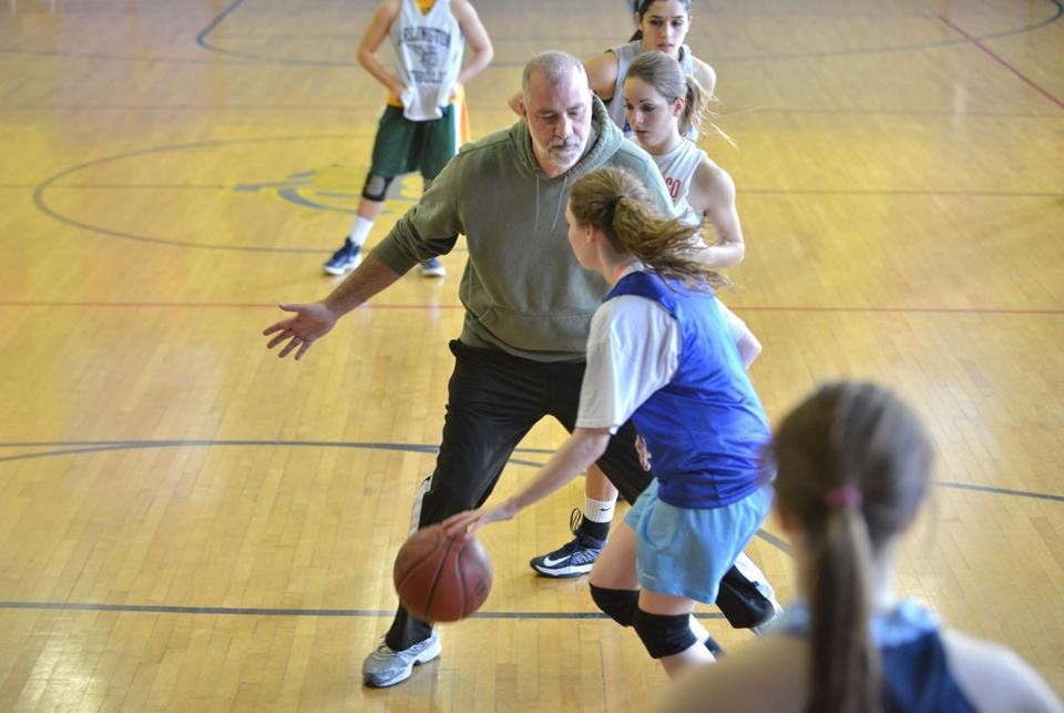 Coach Dave Brady during practice with Arlington Catholic girls, always a contender in the Division 2 tournament.