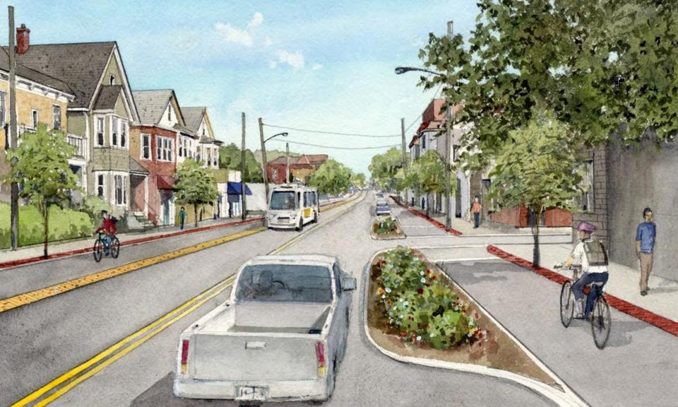 A rendering of Beacon Street with bike lanes on either side.