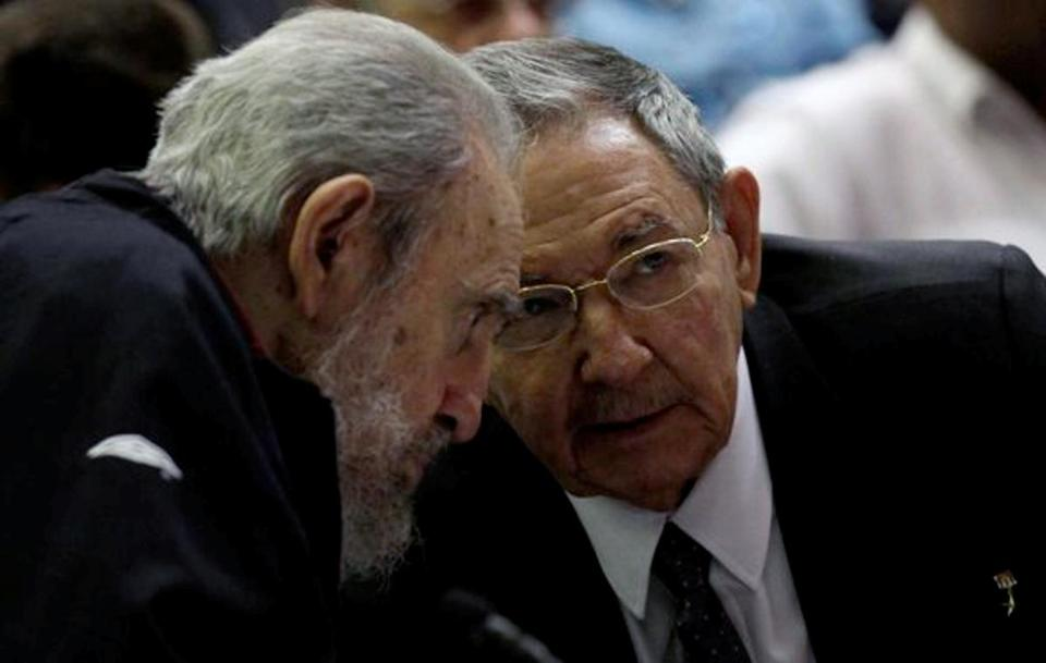 The Castro brothers, Raul (right) and Fidel, attended Sunday's session.