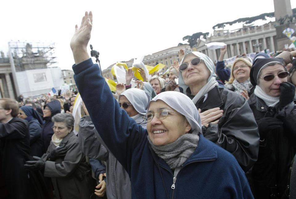 The faithful attended Pope Benedict XVI's last remarks from his studio window overlooking St. Peter's Square on Sunday.