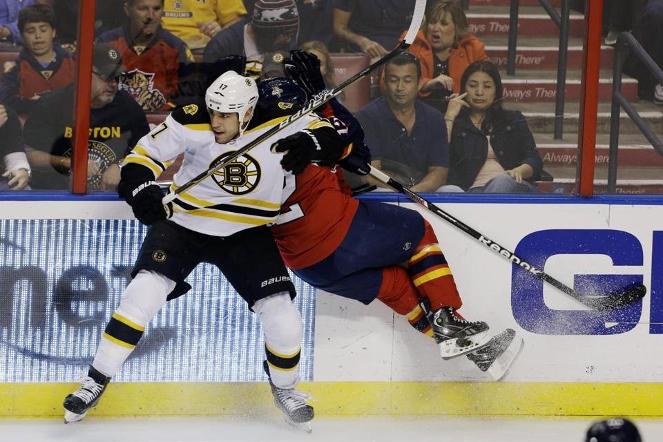 Milan Lucic slammed the Florida Panthers' Jack Skille into the glass in the first period.