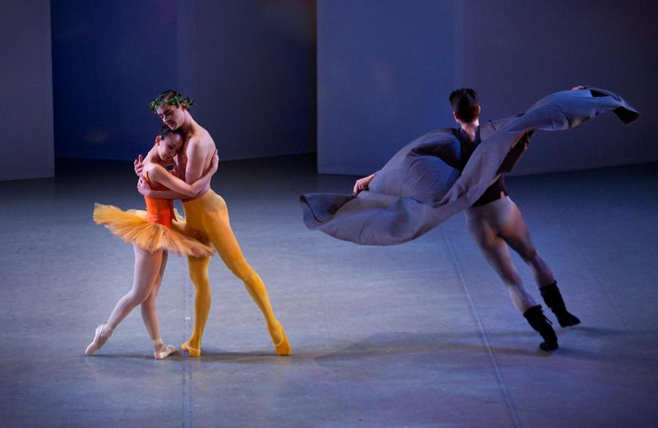 "From left: Misa Okamura, Spencer Doru Keith, and David DuBois in ""Lovers, Fools, Saints and Sinners,"" in the José Mateo Ballet Theatre production."