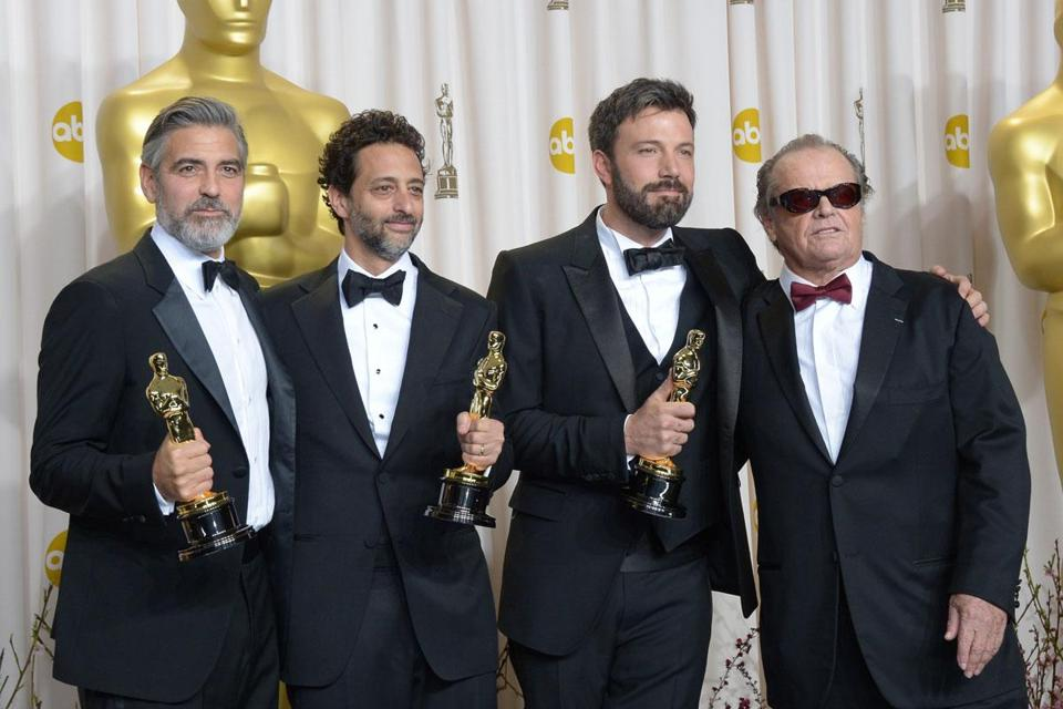 """Argo"" producers George Clooney and Grant Heslov, director Ben Affleck, and award presenter Jack Nicholson celebrated."