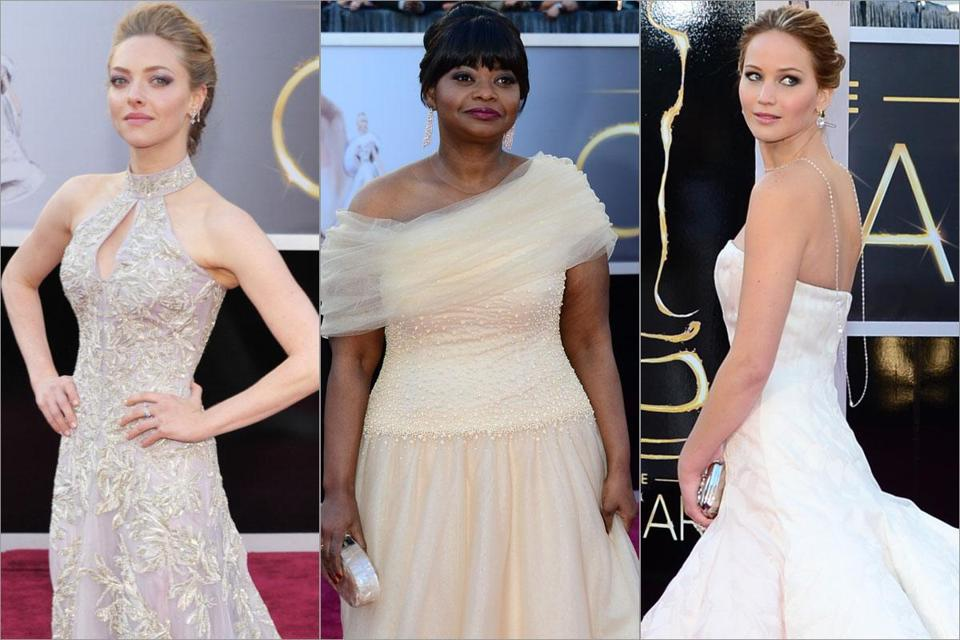 (From left to right) Amanda Seyfried, Octavia Spencer, and Jennifer Lawrence.