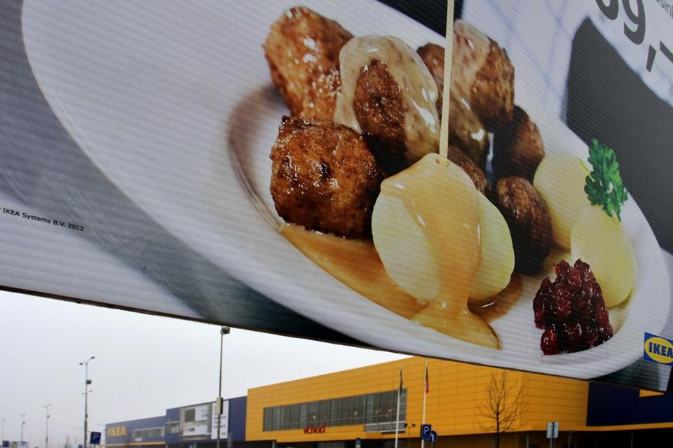 An advertising panel at an Ikea in Brno, Czech Republic, showed a dish featuring meatballs.