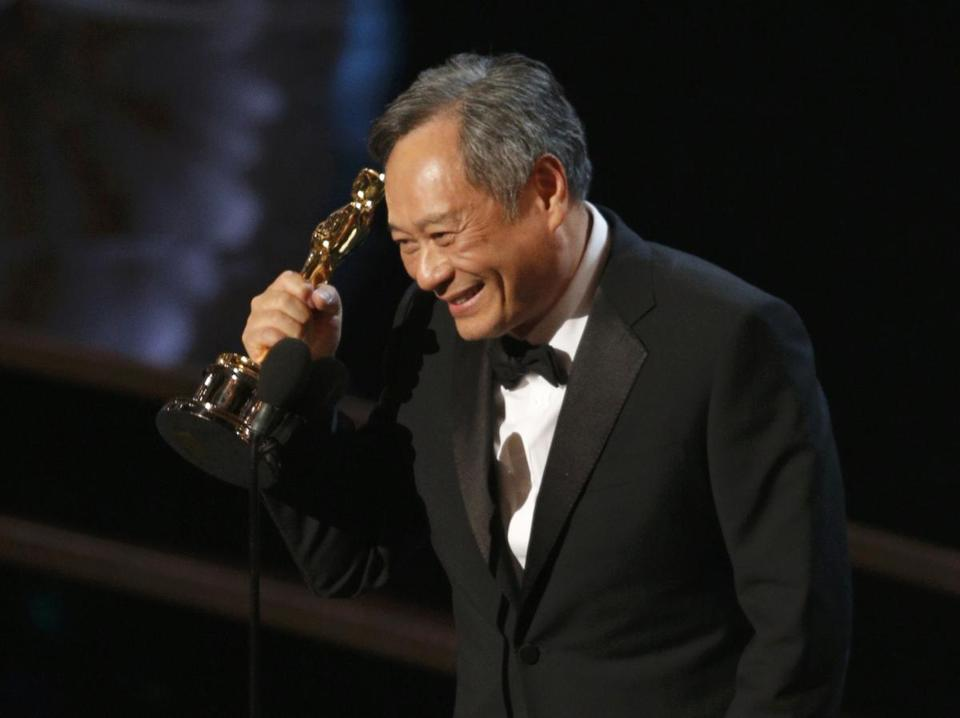 "Ang Lee with his best director Academy Award for ""Life of Pi."""