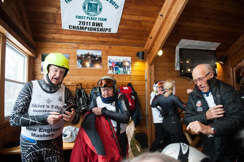 "David ""Duffy"" Dodge, 86, (left), Paul Rich, 84, and George MacNeil, 82, suited up for the Hochgebirge Challenge Cup at Cannon Mountain on Saturday."