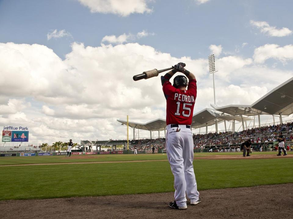 Boston Red Sox Dustin Pedroia at JetBlue Park.