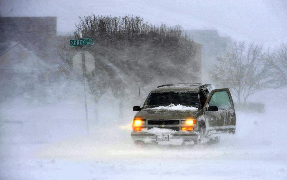 A storm dumped 17 inches of snow on Amarillo and hit other parts of the Texas Panhandle with high winds on Monday.