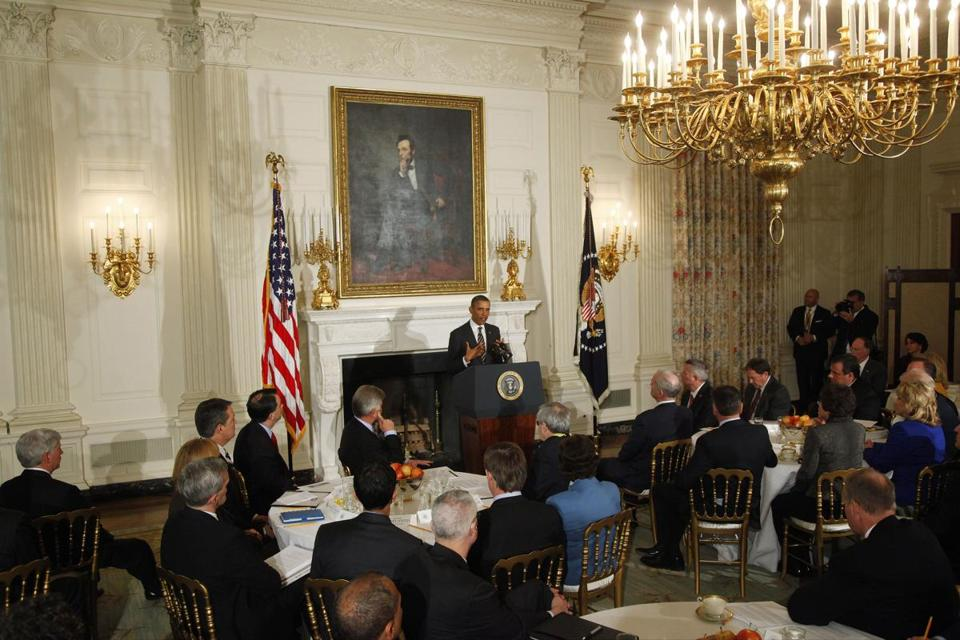 President Obama addressed the National Governors Association in the State Dining Room of the White House on Monday.