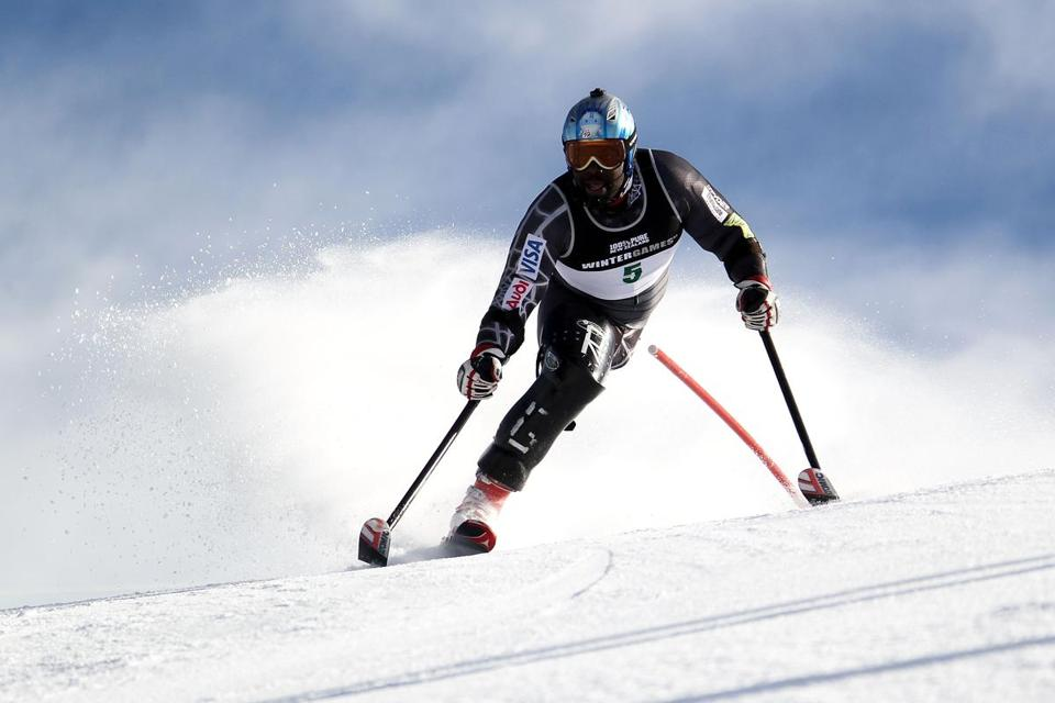 Ralph Green of the United States competed in the Mens Slalom Standing during day 13 of the Winter Games NZ in New Zeland.