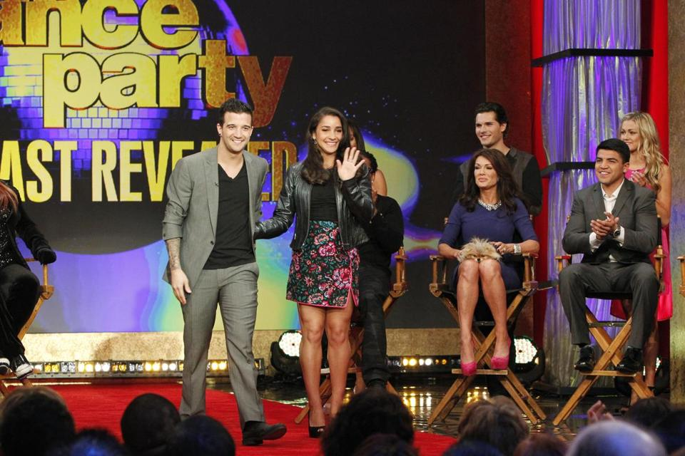 "Mark Ballas and Aly Raisman on ""Good Morning America"" for the announcement of the show's contestants on Tuesday."