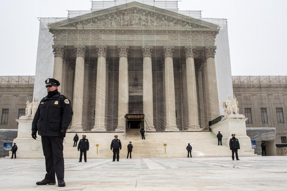 Police officers guarded the plaza in front of the U.S. Supreme Court in January.