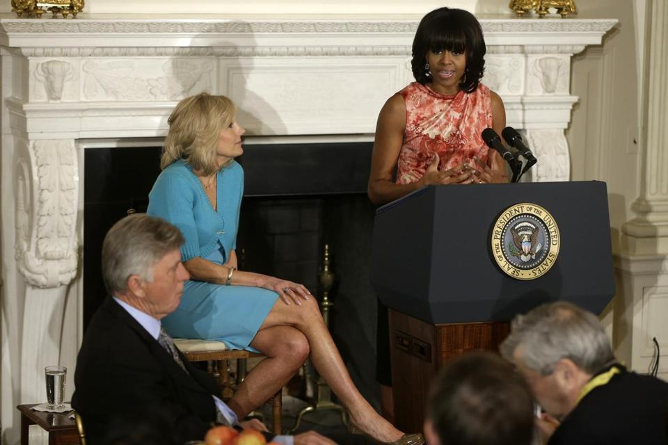 Michelle Obama, accompanied by Jill Biden, addressed the National Governors Association Monday at the White House.