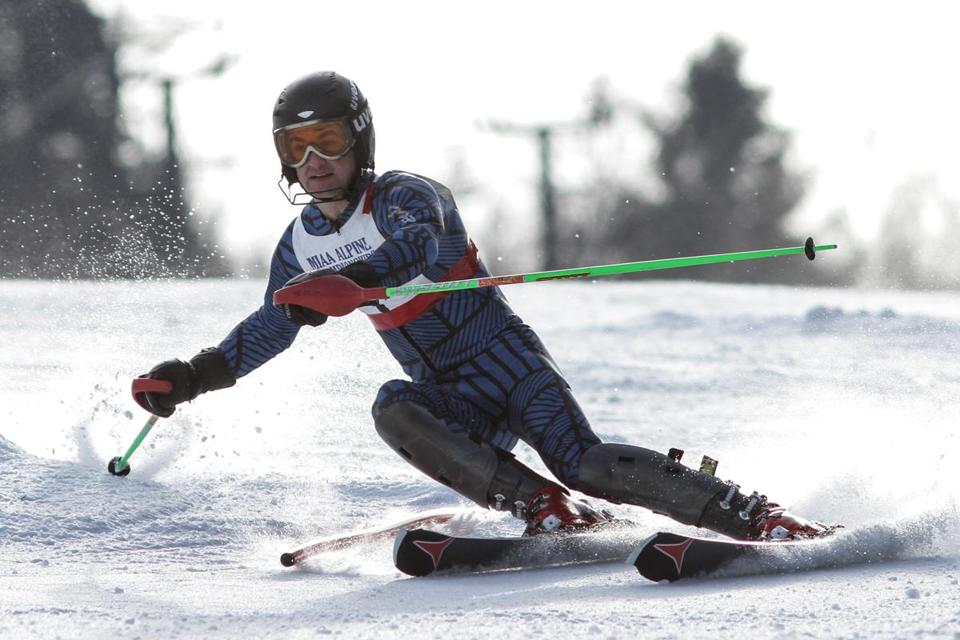 Concord-Carlisle's Andrew Solomon won the MIAA state slalom title with this run in 34.58 seconds. He was also second in the giant slalom.